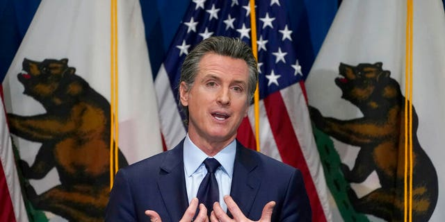 FILE: California Gov. Gavin Newsom outlines his 2021-2022 state budget proposal during a news conference in Sacramento, Calif.