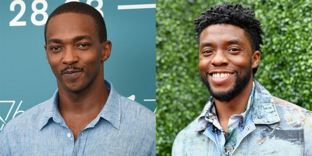 "Anthony Mackie, left, revealed he hasn't yet seen ""Ma Rainey's Black Bottom,"" starring his late Marvel co-star Chadwick Boseman."