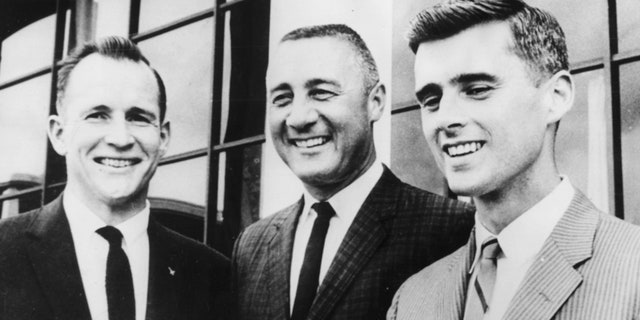 Portrait of Apollo 1 astronauts (L-R) Edward H White, Virgil I Grissom And Roger Chaffee, 1967. Printed following their death in a fire during training, January 27th 1967. (Photo by Keystone/Hulton Archive/Getty Images)