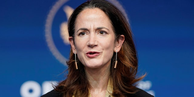 President-elect Joe Biden's nominee to be Director of National Intelligence Avril Haines speaks at his transition headquarters in the Queen Theater in Wilmington, Delaware.