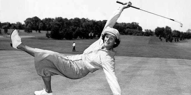 Babe Didrikson Zaharias uses a bit of body English to sink a putt at the All-American tournament at Chicago's Tam-O'Shanter Country Club 1951. She set a course record of 70 for women and also won the World Championship, never going over par for her eight rounds. (Underwood Archives/Getty Images)