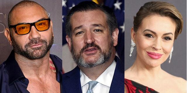 Dave Bautista en Alyssa Milano het ondersteuners versoek om 'n petisie te onderteken waarin gevra word dat Ted Cruz uit die Senaat geskors word..