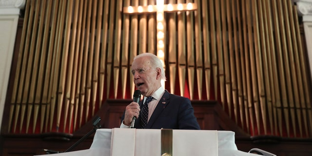Then-candidate Joe Biden speaks during a worship event at the Brown Chapel AME Church on March 1, 2020 in Selma, Alabama. Biden's Catholic faith and pro-abortion policies were the subjects of debate among U.S. Catholic bishops this week at their national conference. (Photo by Joe Raedle/Getty Images)