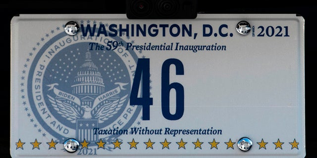 The license plate is seen on the new car of US President Joe Biden, parked at the US Capitol in Washington, DC, January 20, 2021. (Photo by Rod LAMKEY / POOL / AFP) (Photo by ROD LAMKEY/POOL/AFP via Getty Images)