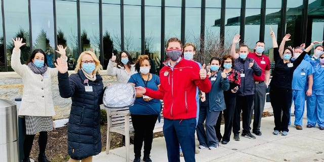 Norton Shores grandly debuted with a generous gesture. On Wednesday, franchise owner Matt Lewis visited the local outpost of Mercy Health, surprising health care workers there with 100 vouchers for free Chick-fil-A for a year.