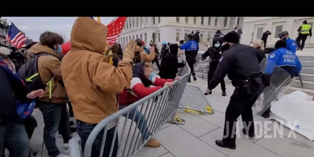 A screengrab from Sullivan's video outside the Capitol