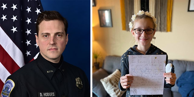 Hodges is now recovering following the incident, police say. At right is Emma Jablonski, holding her letter. (Metropolitan Police Department/Courtesy Johnna Jablonski)