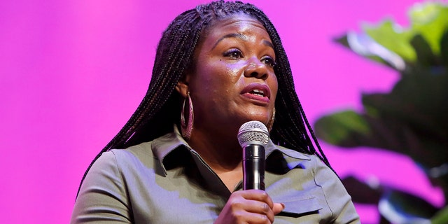 "Cori Bush speaks onstage during The LA Promise Fund's ""Hello Future"" Summit on October 23, 2019 in Los Angeles, California. (Photo by Rachel Murray/Getty Images for The LA Promise Fund's ""Hello Future"" Summit)"