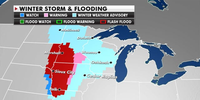 A winter storm is forecast for the Upper Midwest.