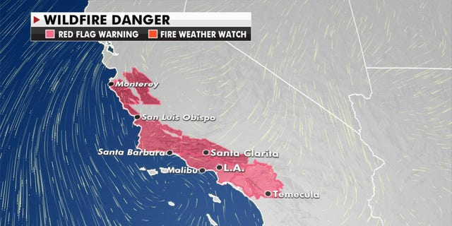 Forecasters have warned of wildfire danger in California.