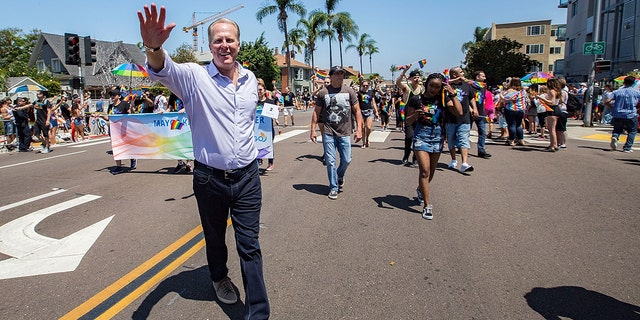 San Diego Mayor Kevin Faulconer participates in the San Diego Pride Parade at Balboa Park on July 14, 2018 in San Diego, California.