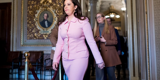 Rep. Elise Stefanik, R-N.Y., walks through the Senate Reception Room before the start of the Senate impeachment trial proceedings on Monday, Jan. 27, 2020. Stefanik is building support to become the new House GOP conference chair should Rep. Liz Cheney get ousted. (Photo By Bill Clark/CQ-Roll Call, Inc via Getty Images)