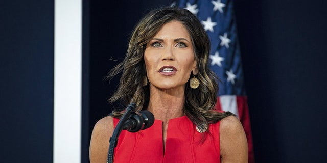 Kristi Noem, governor of South Dakota Governor, speaks during an event at Mount Rushmore National Memorial in Keystone, South Dakota, U.S., on Friday, July 3, 2020.(Al Drago/Bloomberg via Getty Images)