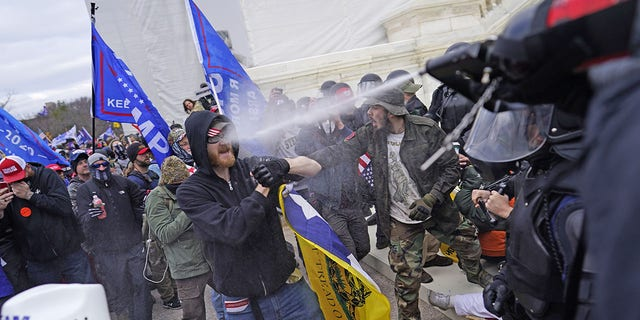 Protesters gather on the second day of pro-Trump events fueled by President Donald Trump's continued claims of election fraud in an to overturn the results before Congress finalizes them in a joint session of the 117th Congress on Wednesday, Jan. 6, 2021 in Washington, DC. (Kent Nishimura / Los Angeles Times via Getty Images)