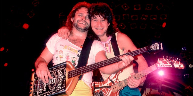 Rock musicians Michael Anthony and Eddie Van Halen (1955 - 2020), both of the group Van Halen, performing onstage at the Rosemont Horizon, Rosemont, Illinois, March 15, 1986.
