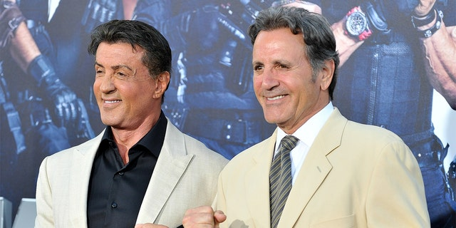 Actor/writer Sylvester Stallone (left) and actor Frank Stallone arrive at the Los Angeles premiere of Lionsgate Films' 'The Expendables 3' at TCL Chinese Theatre on August 11, 2014, in Hollywood, California.