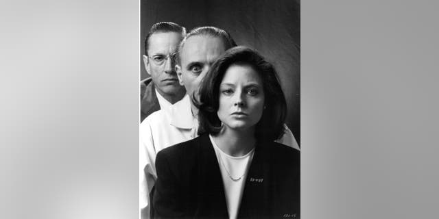 From left: Actors Scott Glenn, Anthony Hopkins and actress Jodie Foster pose for the movie 'The Silence of the Lambs,' circa 1991.