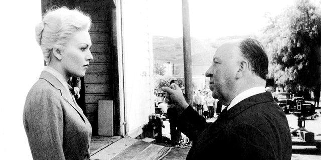 American actress Kim Novak with British director and producer Alfred Hitchcock on the set of his movie 'Vertigo.'