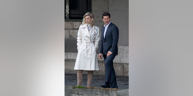 (L-R) Actors Vanessa Kirby and Tom Cruise are seen on the set of 'Mission: Impossible Fallout' on May 2, 2017.
