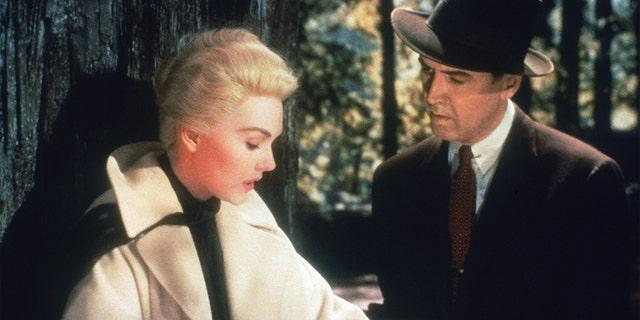 James Stewart (1908 - 1997) and Kim Novak in a scene from Alfred Hitchcock's 'Vertigo.'