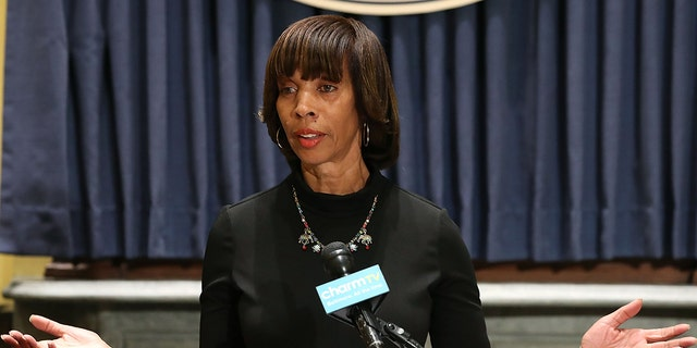 Baltimore Mayor Catherine Pugh talks about the late-night removal of four confederate statues in the city, on August 16, 2017 in Baltimore, Maryland.