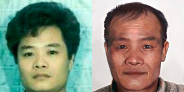 Hung Tien Pham, at left, seen in the 1990s. At right is an age-progression image of what he may look like today. (FBI)