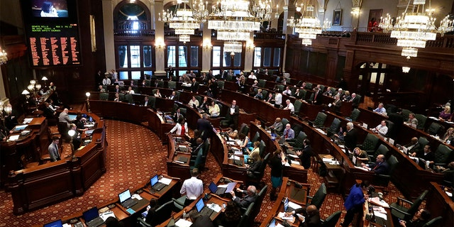 FILE: Illinois lawmakers are seen on the House floor during session at the Illinois State Capitol in Springfield Ill.