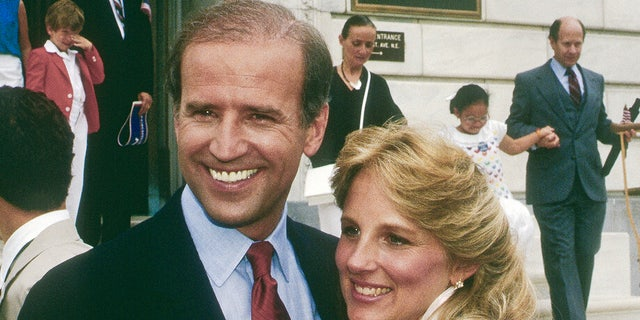 Sen. Joe Biden after announcing his candidacy for president in Wilimington, Delaware in June 1987, and taking the train to Washington D.C. The Senator and his wife Dr. Jill Biden make an appearance at the Dirkson Senate office building. Credit: Mark Reinstein