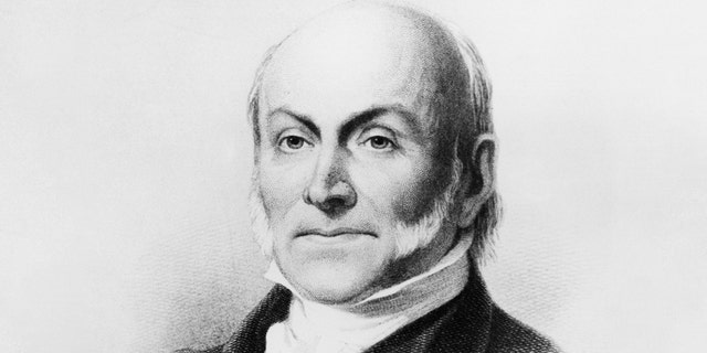 Portrait of John Quincy Adams (1767-1848), American diplomat and politician who served as the 6th President of the United States from 1825 to 1829, engraving after a painting by George Peter Alexander Healy (1818-1894).