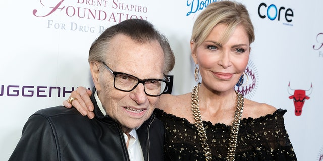 Larry King (left) and his wife since 1997, Shawn King (right). (Photo by Greg Doherty/FilmMagic)