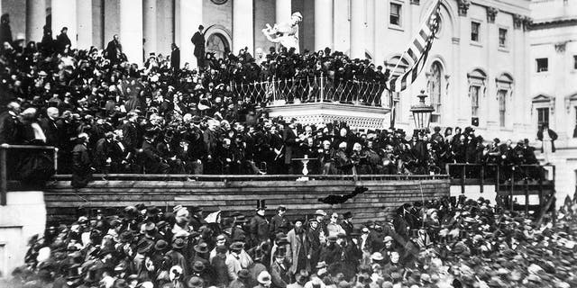 The crowd at President Abraham Lincoln's second inauguration, March 4, 1865.(Fotosearch/Getty Images)