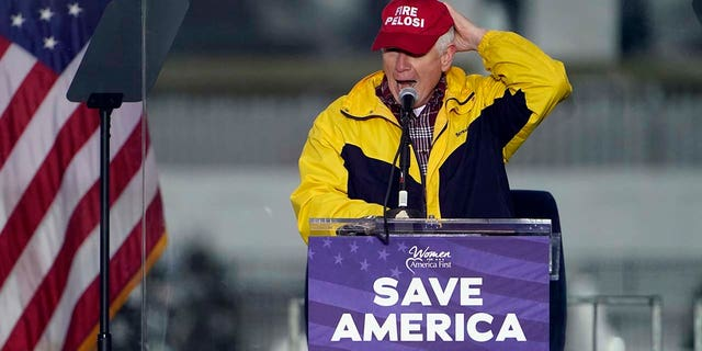 """Rep. Mo Brooks, R-Ala., wears a """"Fire Pelosi"""" hat as he speaks Wednesday, Jan. 6, 2021, in Washington, at a rally in support of President Donald Trump called the """"Save America Rally."""" (Associated Press)"""