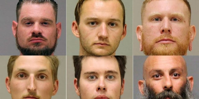 Top, from left to right: Adam Dean Fox; Kaleb Franks; Brandon Caserta Bottom, from left to right: Daniel Harris; Ty Garbin; Barry Croft (Kent County Sheriff, Delaware Department of Justice)
