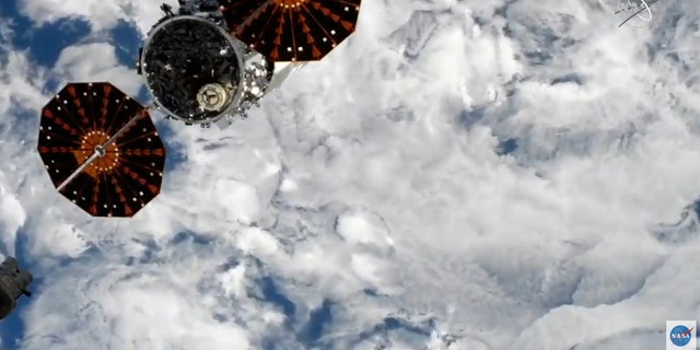 The Cygnus spacecraft shortly after its undocking from the International Space Station.