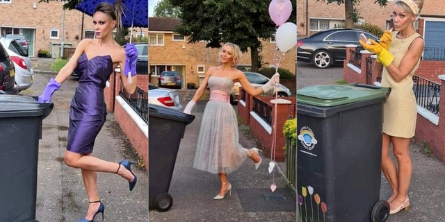 """""""It was so funny dressing up and going out to push my wheelie bin,"""" the 49-year-old said of the four-month stunt. (SWNS.)"""