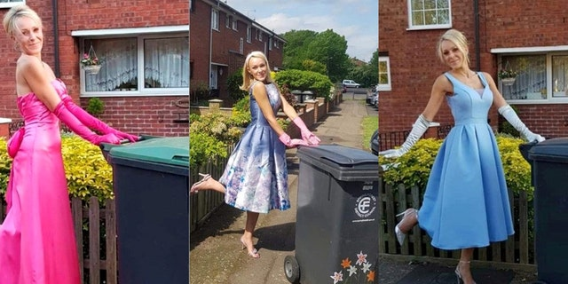 Nicola Matthews got dolled up to bring out the garbage – and the tradition stuck for 20 weeks. (SWNS.)