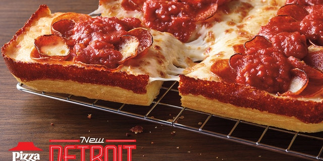 Pizza Hut's new Detroit-style pizzas come in four varieties: Detroit Double Pepperoni, Double Cheesy, Meaty Deluxe and Supremo.