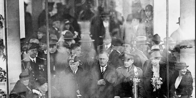 President Franklin D. Roosevelt watches his inaugural parade in Washington. (AP Photo, File)