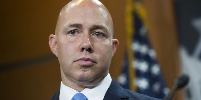 Rep. Brian Mast, R-Fla., conducts a news conference in the Capitol Visitor Center on the eviction of Congressional offices from Veterans Affairs Department facilities on Friday, Sept. 20, 2019. (Tom Williams/CQ-Roll Call, Inc via Getty Images)
