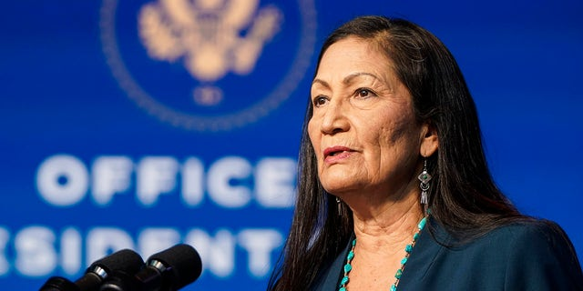Nominee for Secretary of Interior, Congresswoman Deb Haaland, speaks after then-President-elect Joe Biden announced his climate and energy appointments at the Queen theater on Dec. 19, in Wilmington, Delaware. (Getty Images)
