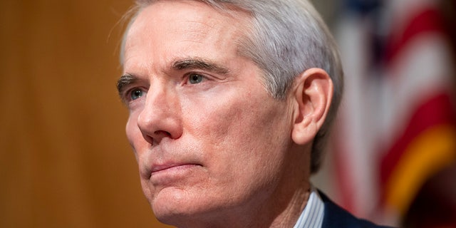 Sen. Rob Portman, R-Ohio, questions Homeland Security Secretary nominee Alejandro Mayorkas during his confirmation hearing in the Senate Homeland Security and Governmental Affairs Committee on Tuesday, Jan. 19, 2021, on Capitol Hill in Washington. (Bill Clark/Pool via AP)