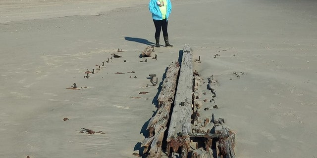 The shipwreck emerged from the sands of Ocracoke Island.