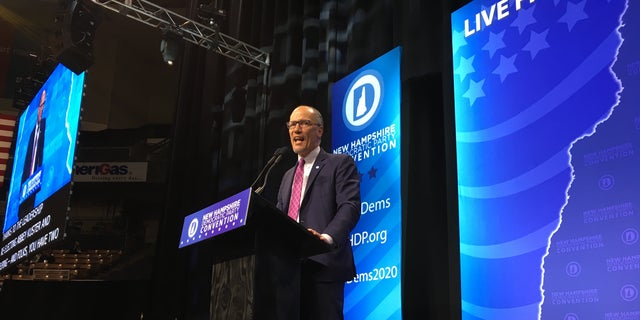 DNC Chair Tom Perez speaks to a Democratic Party gathering in New Hampshire ahead of the 2020 New Hampshire presidential primary