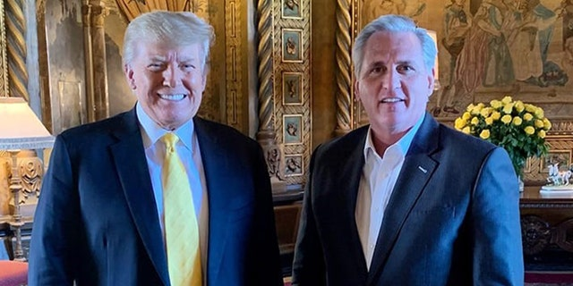 Former President Trump and House Minority Leader Kevin McCarthy, R-Calif., meet at Mar-a-lago Thursday.