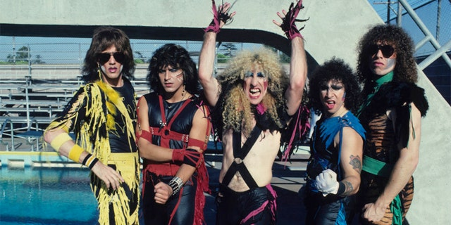 "Jay Jay French, Eddie Ojeda, Dee Snider, A.J. Pero and Mark Mendoza of Twisted Sister, group portrait, on the set of the video shoot for their single ""I Wanna Rock"" in Los Angeles in 1984."