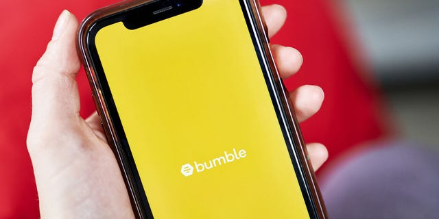 "Dating app Bumble temporarily removed its politics filter to prevent ""misuse and abuse.""  (Gabby Jones/Bloomberg via Getty Images)."
