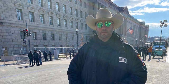 Constable David Thomas of Calhoun County, Texas Pct 5 was among law enforcement lining 15th Street -- one block from the White House on Jan. 20. (Fox News)
