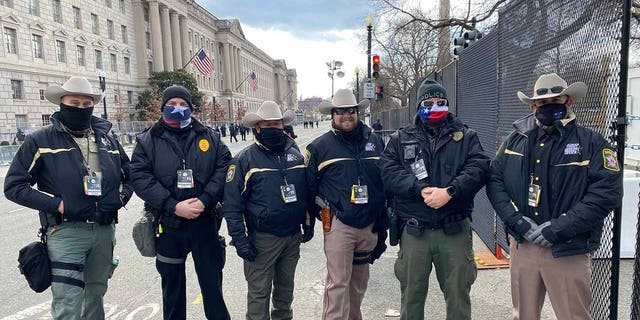 While at least 26,000 National Guard troops have been a major focus in D.C., thousands of police, sheriffs and constables were there too on Jan. 20 — from NYC to Calhoun County, Texas. (Fox News)