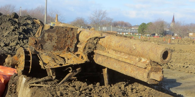 AMHERSTBURG, ONTARIO, CANADA A lost German artillery gun from the first world war has been uncovered by stunned Canadian builders, an estimated 4,000 miles from where it was last fired (Credit: Pen News/Robert Honor)