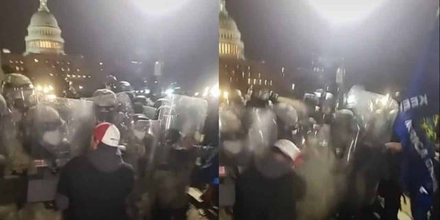 Capsel is allegedly seen clashing with National Guard troops holding the line with riot shields outside the U.S. Campidoglio. (Dipartimento di Giustizia)